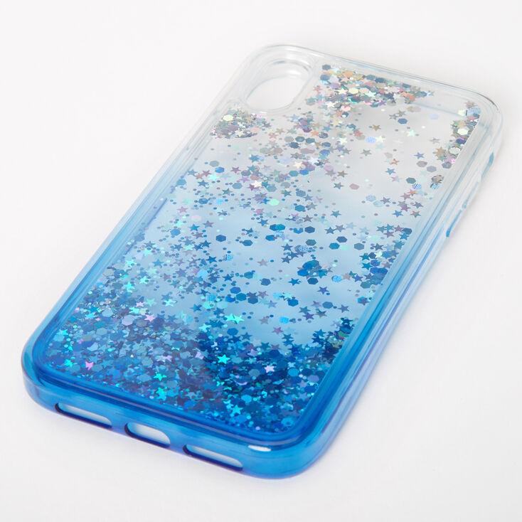 Blue Glitter Star Liquid Fill Phone Case - Fits iPhone XR,