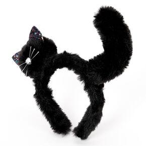 Plush Cat Headband - Black,