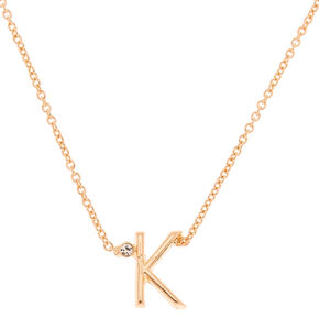 Gold Stone Initial Pendant Necklace - K,