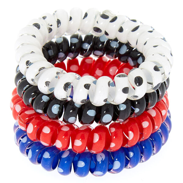 Claire's - polka dot spiral hair bobbles - 1