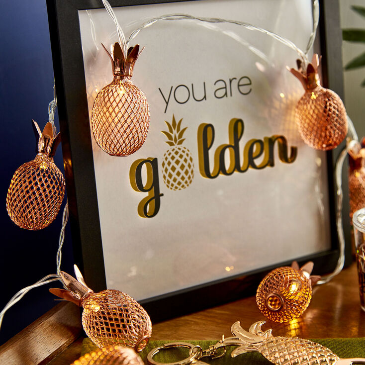 Rose Gold Pineapple Light Strands,