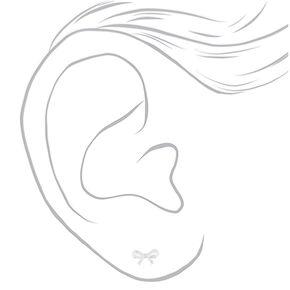 Clous d'oreille avec nœud couleur argenté,