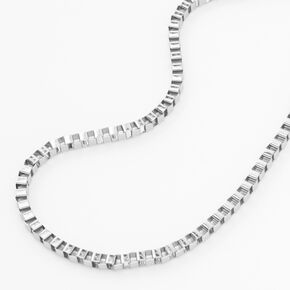 Silver Box Link Chain Necklace,
