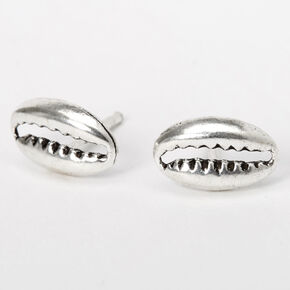 Sterling Silver Cowrie Shell Stud Earrings,