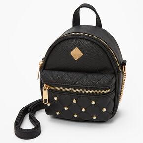 Pearl Studded Mini Backpack Crossbody Bag - Black,