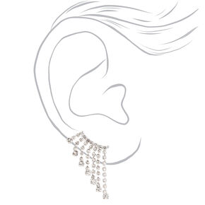 "Silver 1"" Crystal Dangle Ear Crawler Earrings,"