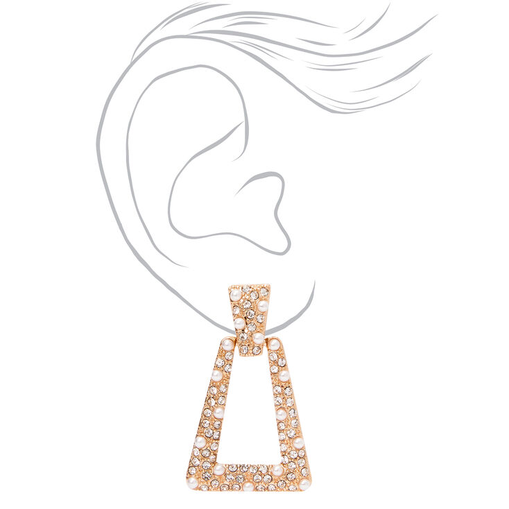 "Gold 1"" Crystal Pearl Door Knocker Clip On Drop Earrings,"