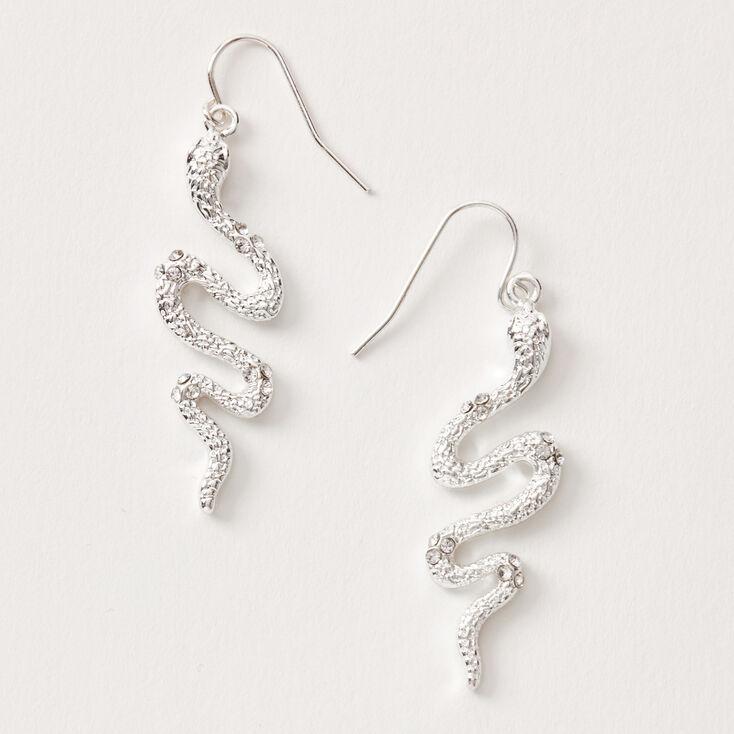 """Silver 1.5"""" Embellished Snake Drop Earrings,"""