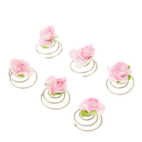 Paper Rose Hair Spinners - Blush, 6 Pack,