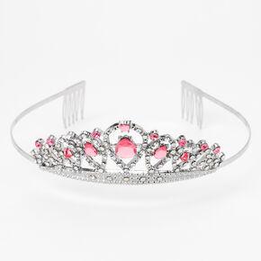 Claire's Club Pink Rhinestone Silver Tiara,