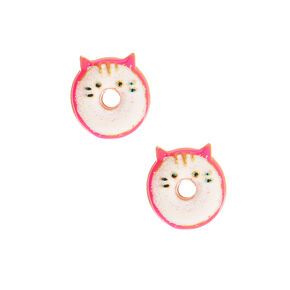 Glitter Cat Donut Earrings - White,