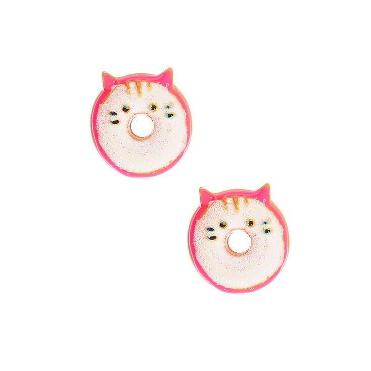 Glitter Cat Donut Earrings - White,