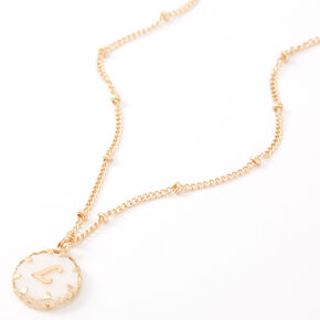 Gold Shell Initial Pendant Necklace - L,