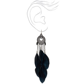 "Black 4.5"" Medallion Filigree Feather Drop Earrings,"