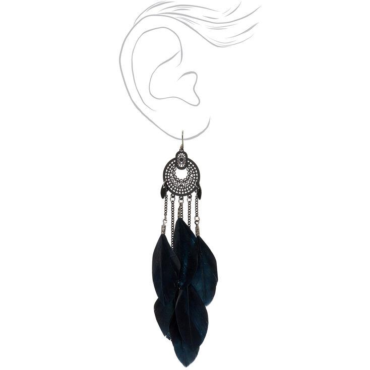 Pendantes à plumes en filigrane médaillon 11,5cm noires,