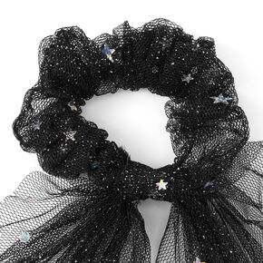 Small Star Tulle Hair Scrunchie Scarf - Black,