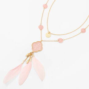Gold Medallion Feather Multi Strand Pendant Necklace - Pink,