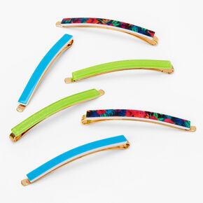 Gold Tropical Neon Hair Pins - Green, 6 Pack,
