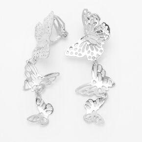"""Silver 2"""" Filigree Triple Butterfly Clip On Drop Earrings,"""