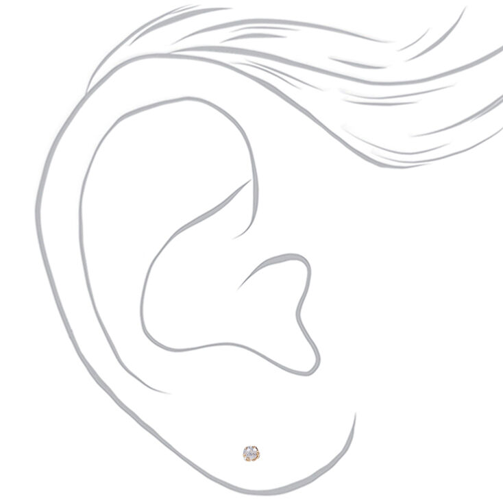 Gold Cubic Zirconia Round Magnetic Stud Earrings - 3MM,