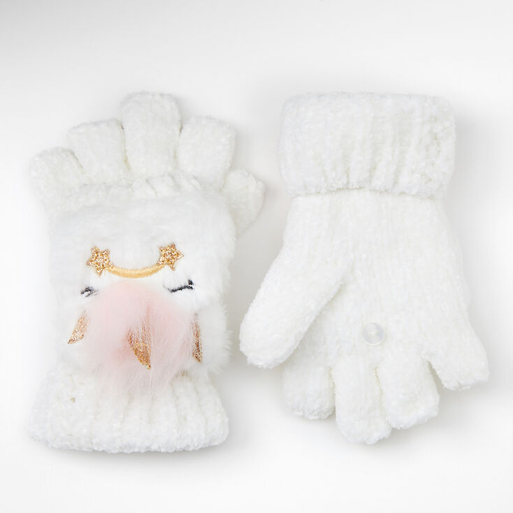 Claire's Club Unicorn Chenille Fingerless Gloves With Mitten Flap - White,