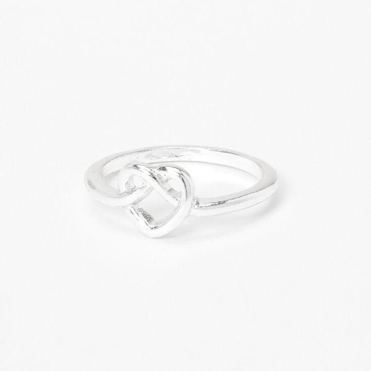 Silver Knotted Heart Ring,