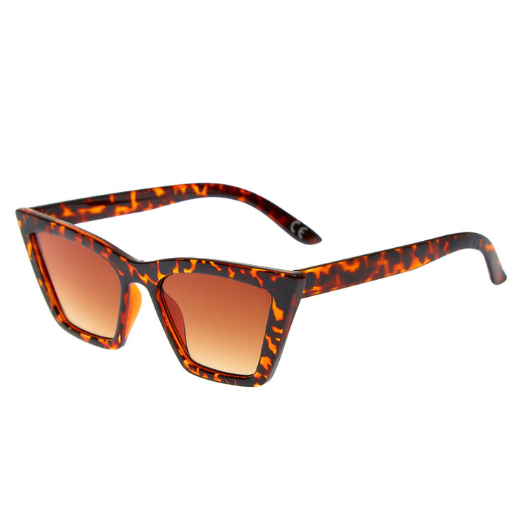 Tortoiseshell Rectangular Cat Eye Sunglasses,