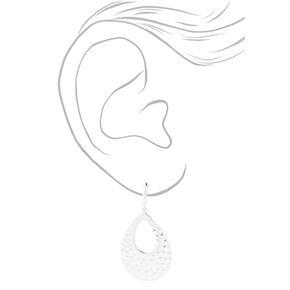 """Silver 3"""" Double Teardrop Clip On Drop Earrings,"""