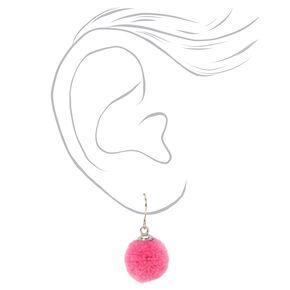 Fuzzy Pom Pom Drop and Stud Earrings Set - 6 Pack,