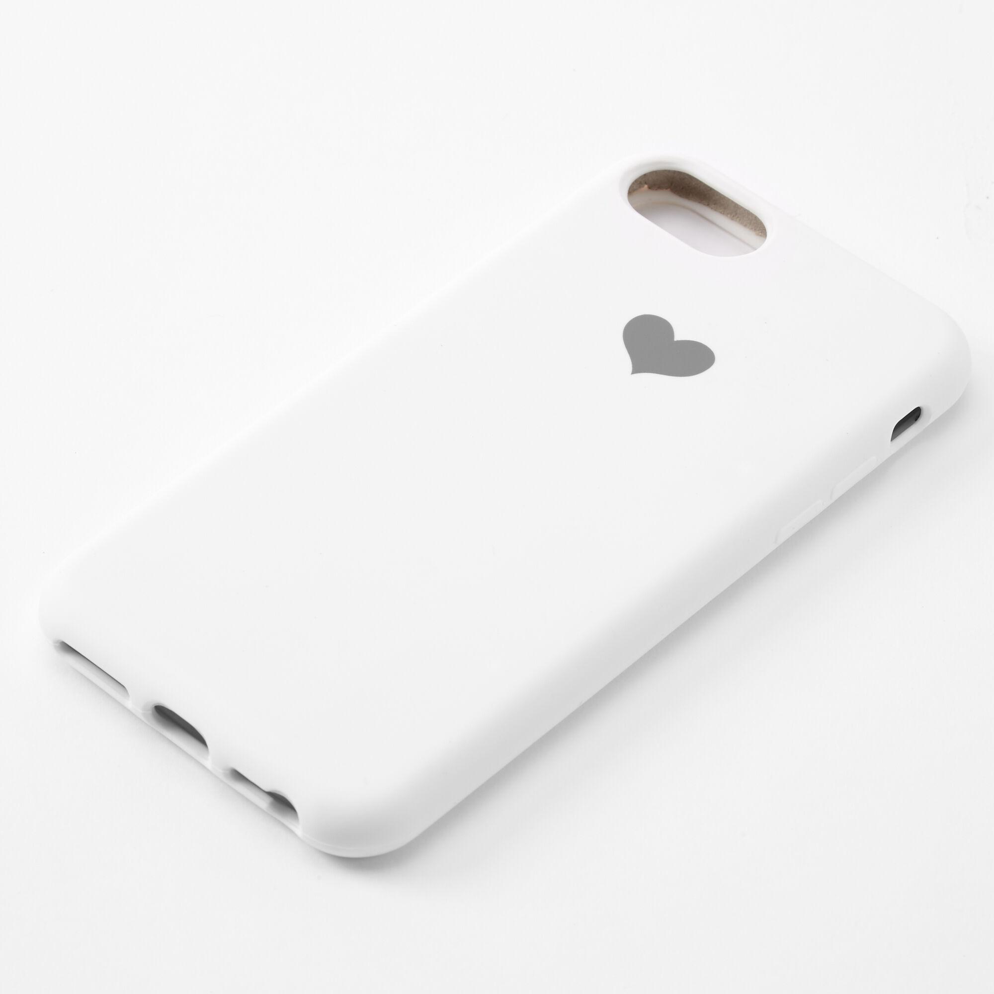 Coque de portable blanche avec cœur - Compatible avec iPhone 6/7/8/SE