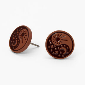 Black & Brown Celestial Yin Yang Stud Earrings,