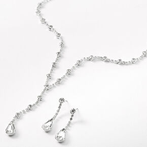 Silver Rhinestone Single Teardrop Y-Neck Jewelry Set - 2 Pack,