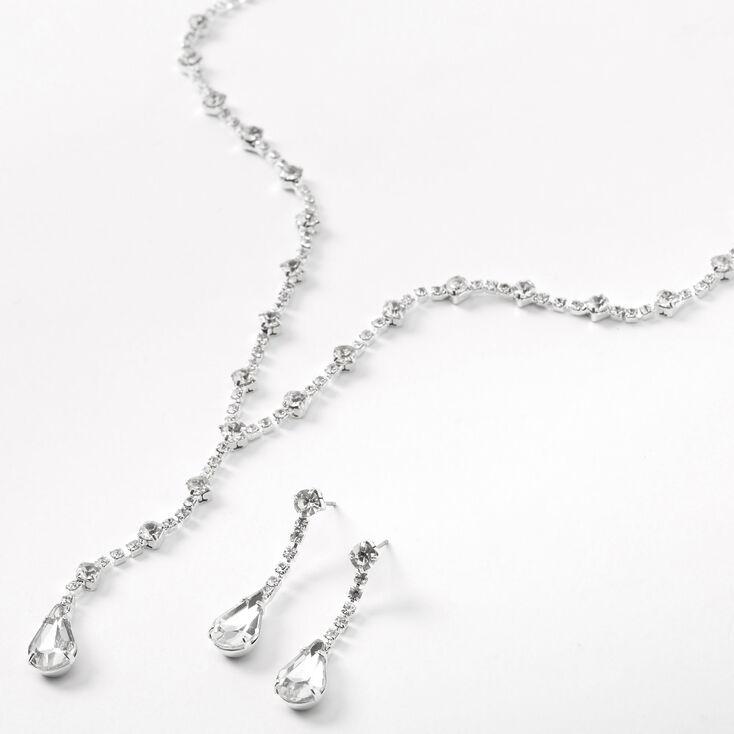 Silver Rhinestone Single Teardrop Y-Neck Jewelry Set - 2 Pack,