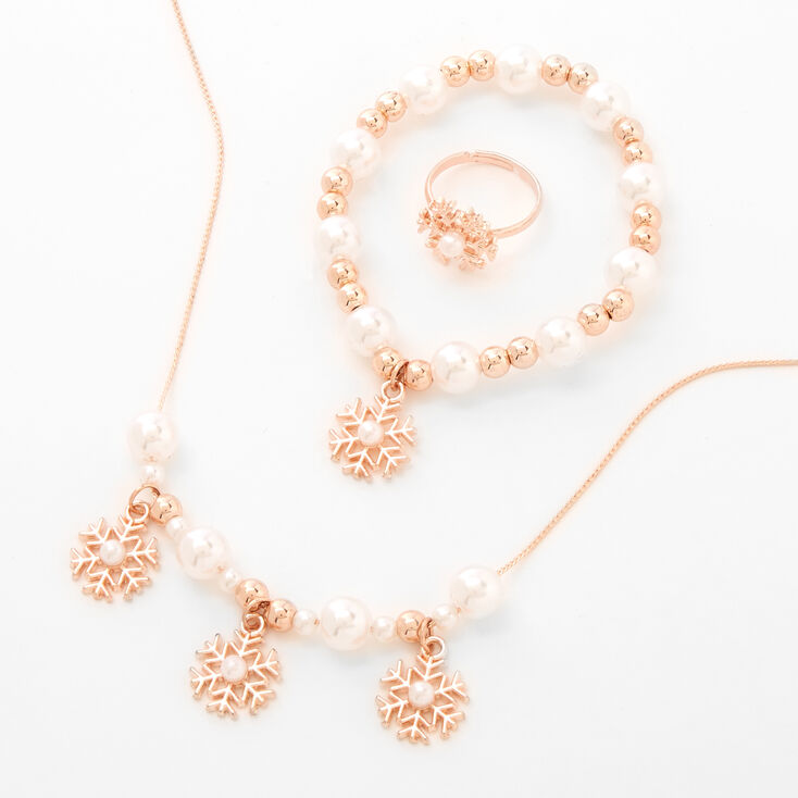 Claire's Club Holiday Snowflake Pearl Jewelry Set - Rose Gold,