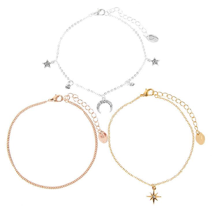 Bracelets de cheville à chaînes corne et étoile en métaux mixtes - Lot de 3,