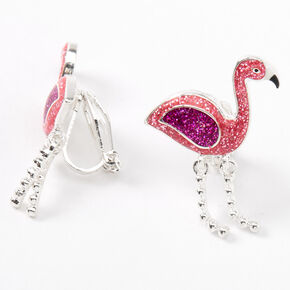 Silver Glitter Flamingo Clip On Stud Earrings - Pink,