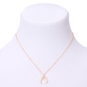 Gold Horn Pendant Necklace - White,