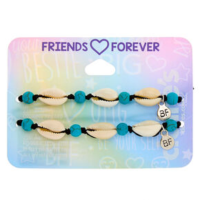 Cowrie Shell Adjustable Friendship Bracelets - Turquoise, 2 Pack,