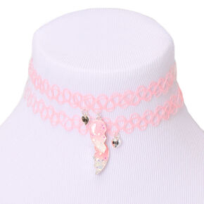 Best Friends Heart Tattoo Choker Necklaces - Pink, 2 Pack,