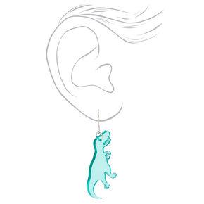Silver 1.5'' Dinosaur Drop Earrings - Blue,