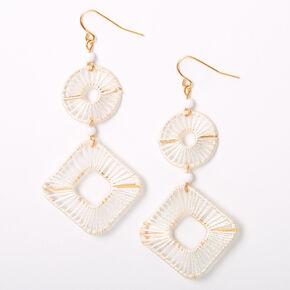 "Gold 2.5"" Threaded Geometric Drop Earrings - White,"