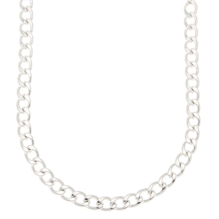 Silver Heavy Chain Necklace,