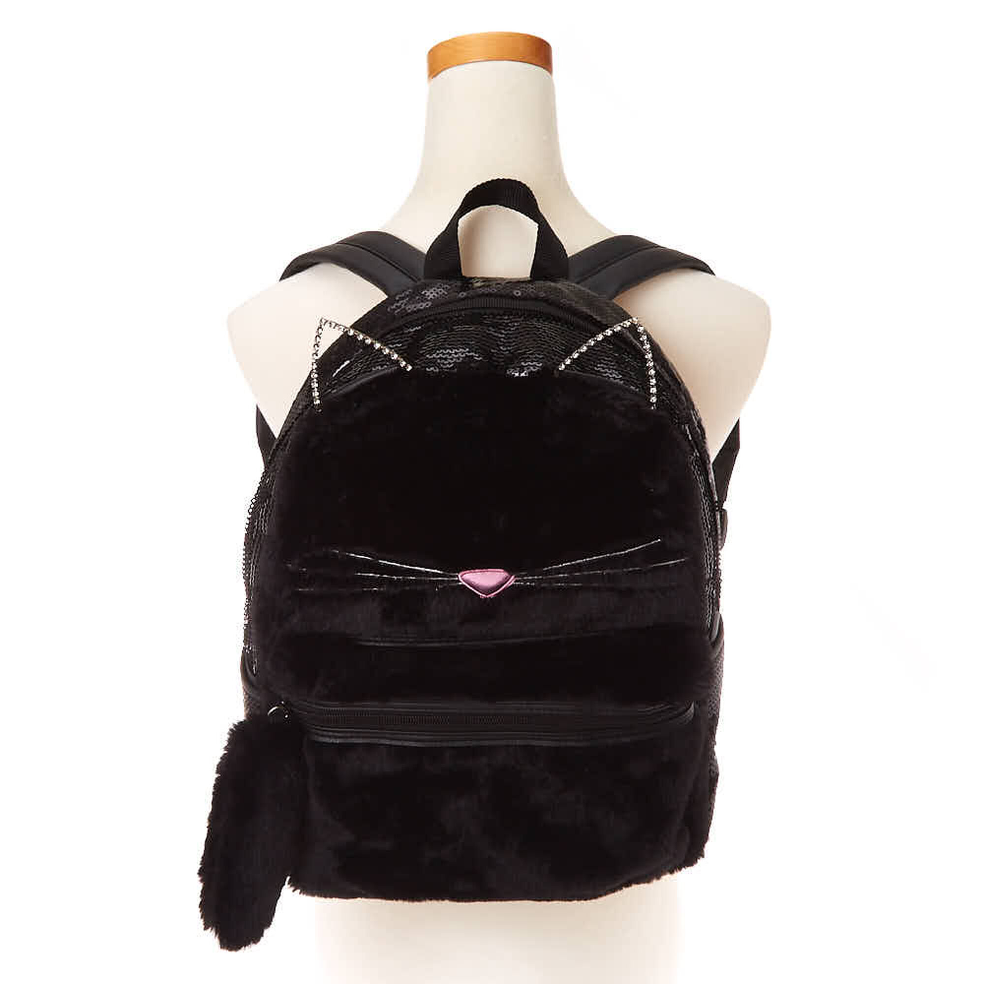 94958efac2d5c1 Fuzzy Sequin Cat Backpack - Black | Claire's US