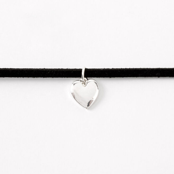Silver Heart Charm Cord Choker Necklace - Black,