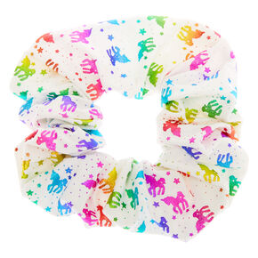 Medium Rainbow Unicorn Stars Hair Scrunchie - White,