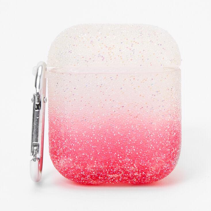 Étui pour écouteurs à paillettes caviar avec dégradé de tons roses - Compatible avec les AirPods® de Apple,