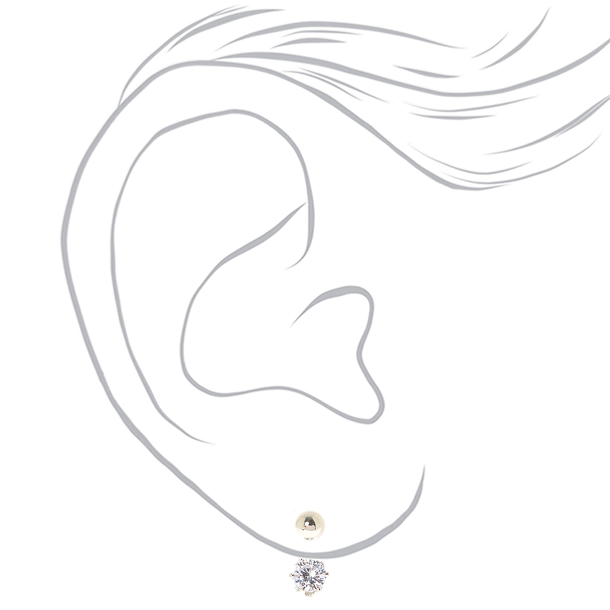 ba3f6ed5c ... Silver Ball Stud with Round Cubic Zirconia Front & Back Earrings,