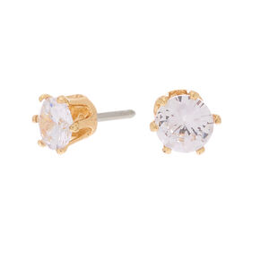 Gold Cubic Zirconia Round Stud Earrings - 6MM,