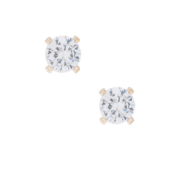 Claire's - rose cubic zirconia 4mm round stud earrings - 1