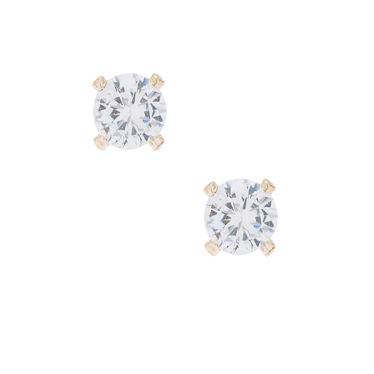 12a66bc7d Rose Gold Cubic Zirconia 4MM Round Stud Earrings | Claire's